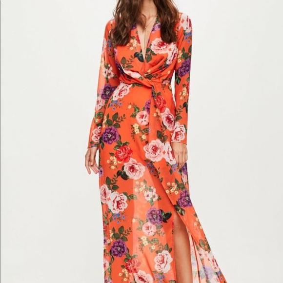 341eaf0b4 Missguided Orange Floral Maxi Dress. M_5abaedfca6e3eab0d1b4f171